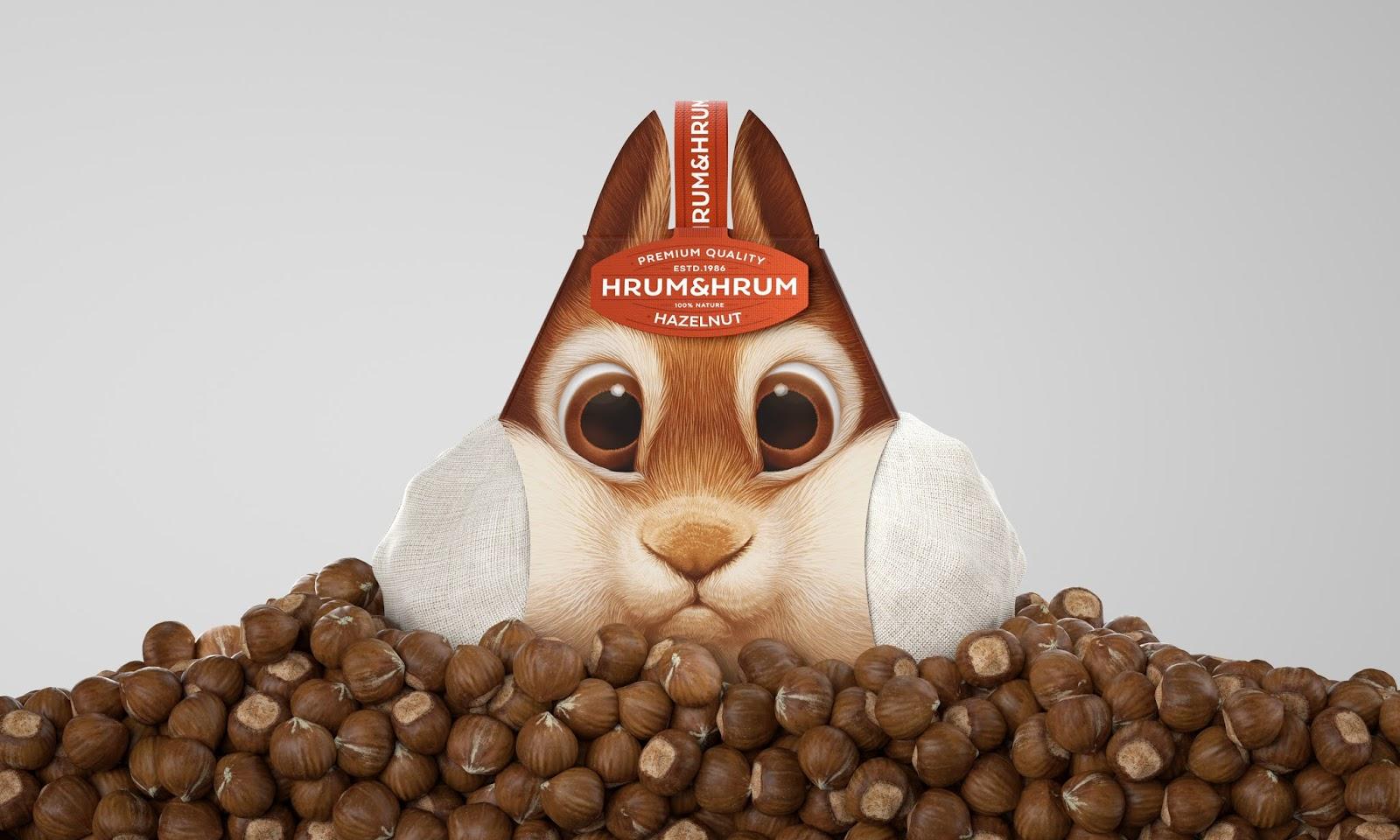 Embalagem criativa inspirada nos esquilos